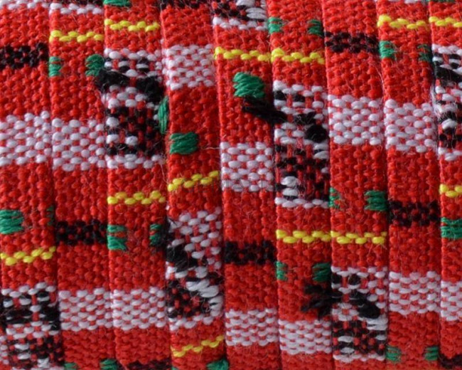 Tira etnica de algodon. Plano 5x1,5mm. Rojo oscuro-multicolor.