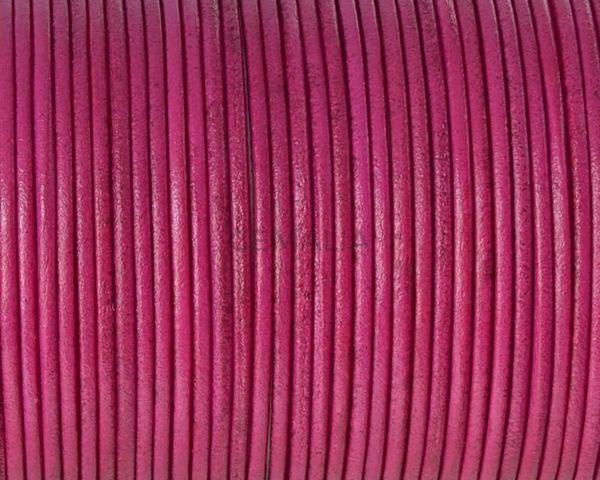 Cordón de piel de canguro redondo 1,6mm. Fucsia. Calidad superior.