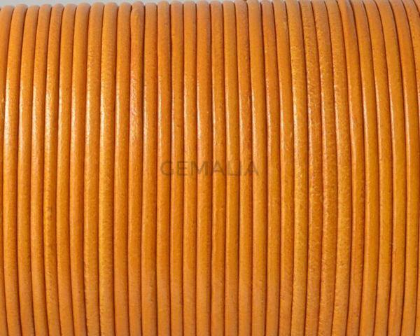 Cordón de piel de canguro redondo 1,6mm. Mostaza. Calidad superior.