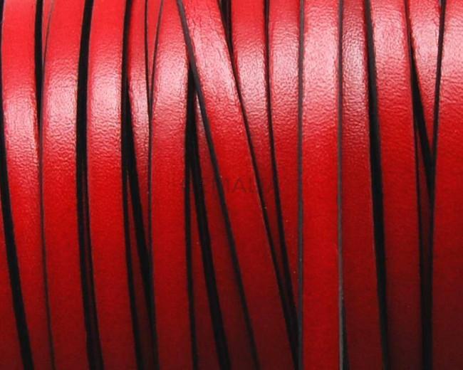 Cuero Plano 5x1,5mm. rojo-borde negro. Calidad superior