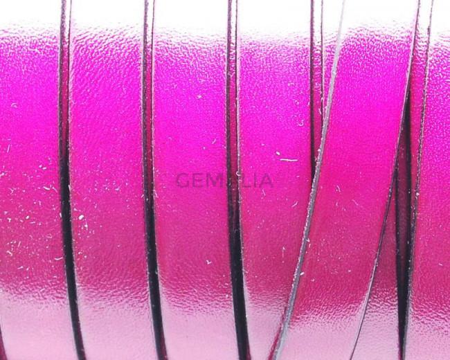 Cuero Plano 10x1,5mm. Fuchsia-borde negro. Calidad superior