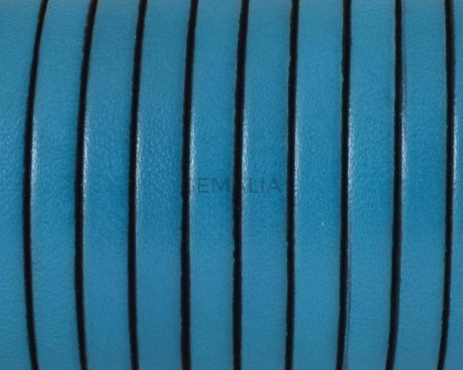 Cuero Plano 5x1,5mm. azul-borde negro. Calidad superior