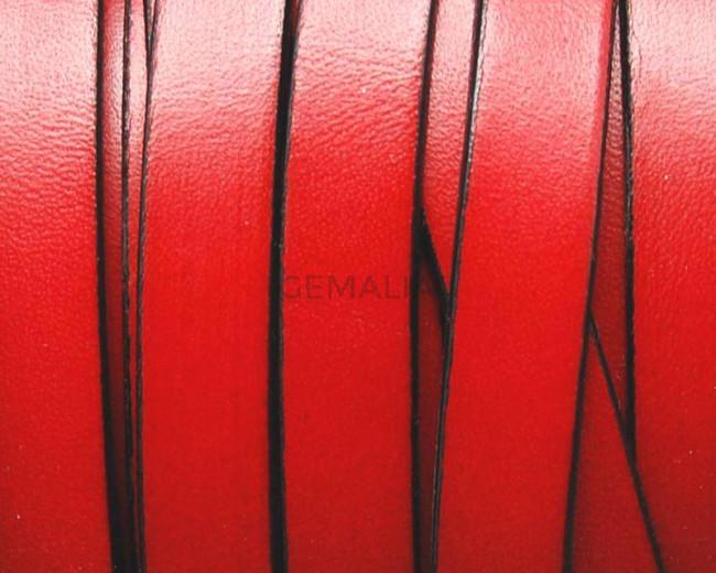 Cuero Plano 10x1,5mm. Rojo-borde negro. Calidad superior