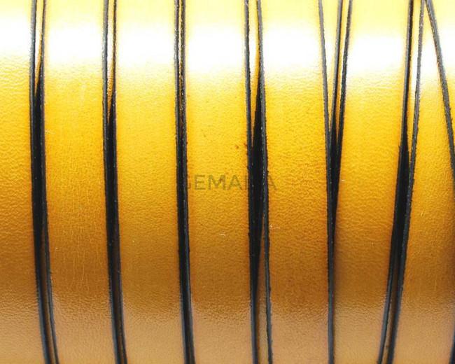 Cuero Plano 10x1,5mm. Amarillo-borde negro. Calidad superior