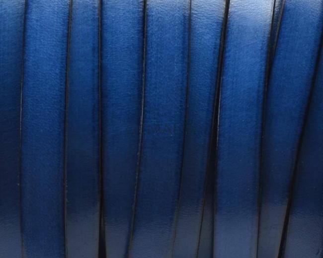 Cuero Plano 10x1,5mm. Azulon-borde Negro. Calidad Superior