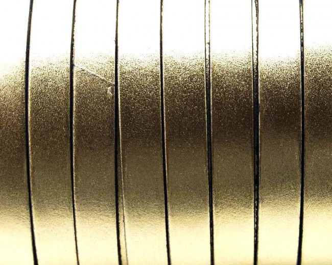 Cuero Plano 10x1,5mm. Oro Metalizado. Calidad Superior