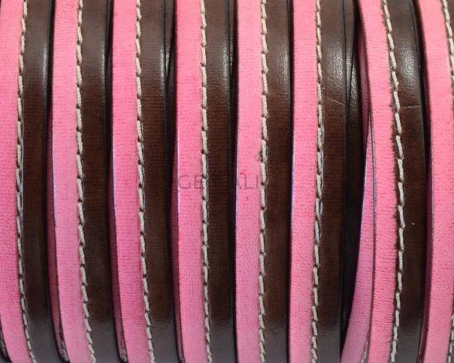 Cuero Plano cosido. 10x2mm. Marron oscuro-rosa. Calidad Superior