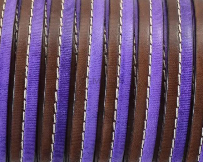 Cuero Plano cosido. 10x2mm. Marron oscuro-violeta. Calidad Superior