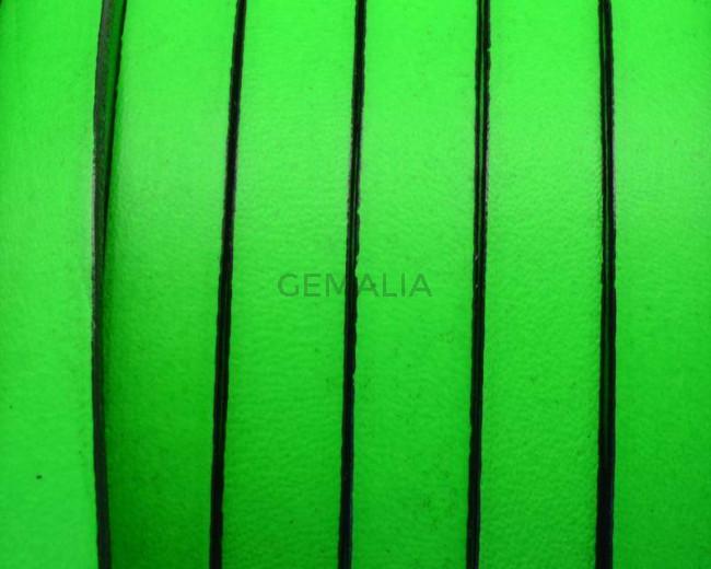Cuero Plano 10x1,5mm. Verde fluor-Cantos negros. Calidad Superior