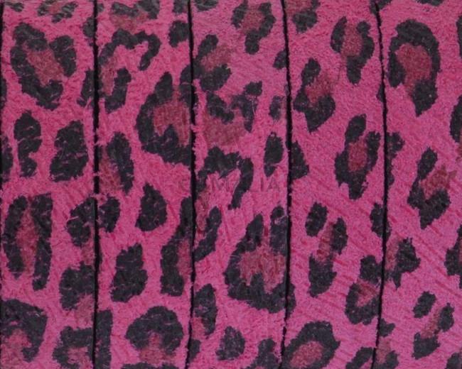 Piel de serraje Plano 10x2mm. Leopardo fucsia. Calidad Superior