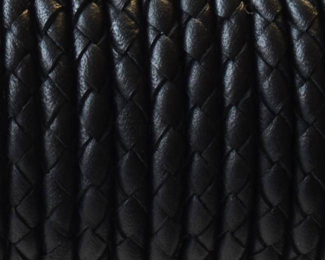 1cbe224a98e3 Cuero Trenzado Redondo 4mm. Negro. Calidad superior