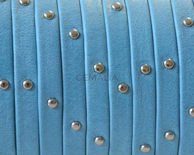Cuero Plano 5x1,5mm. Tira doblada. Denver. Azul turquesa-Plateado Calidad Superior