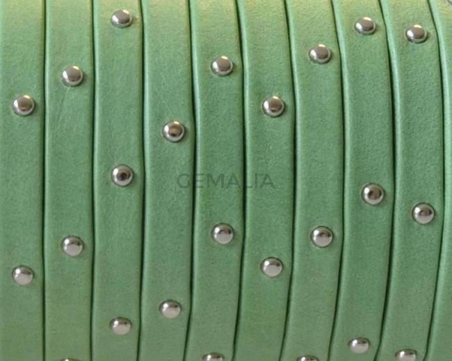 Cuero Plano 5x1,5mm. Tira doblada. Denver. Verde hierba-Plateado Calidad Superior