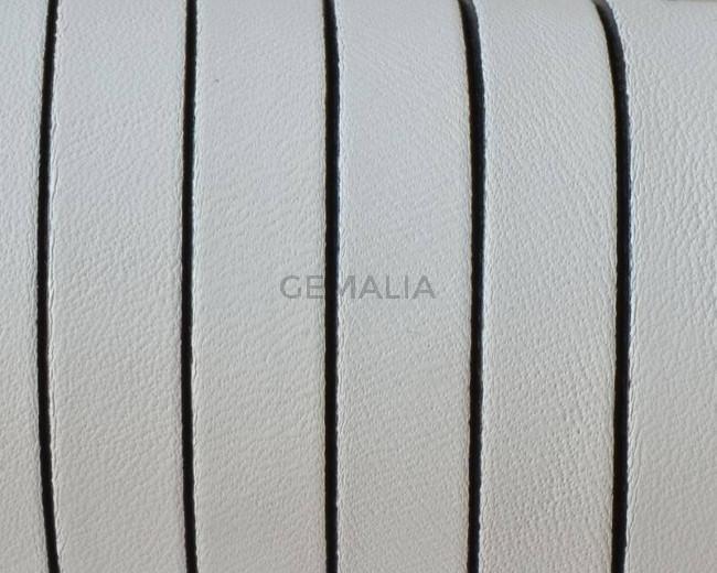 Cuero Plano 10x1,5mm. Blanco-cantos negros. Calidad superior