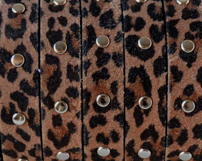 Piel ante con tachuelas. Plano 10x2mm. Leopardo-Plateado. Calidad Superior