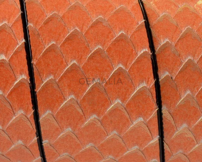 Cuero Plano 30x2,5mm. Naranja-Oro. Calidad superior