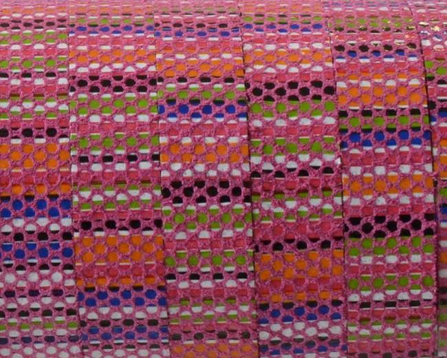 Tira de piel. 10x1,5mm. Rosa multicolor. Calidad superior