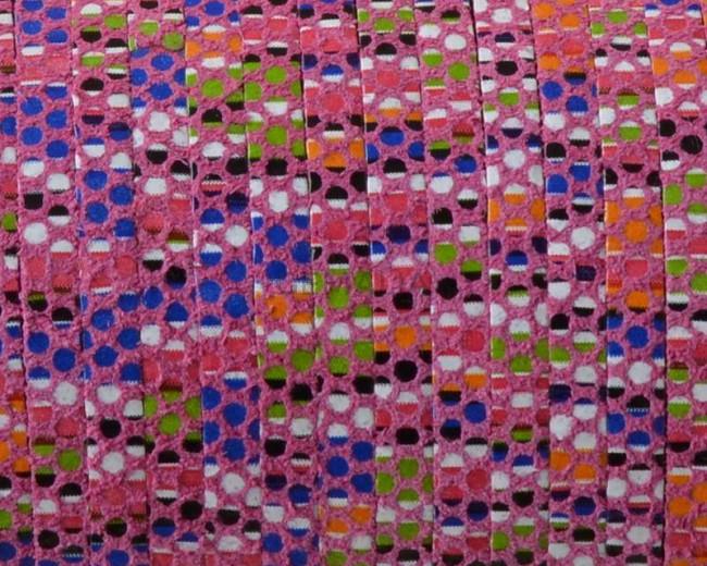 Tira de piel plana. 3x1,5mm. Rosa multicolor. Calidad superior