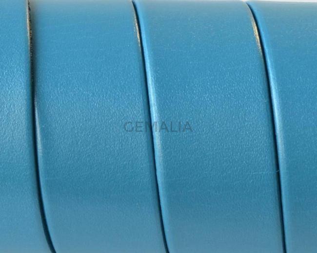 Cuero Plano 20x1,5mm. Azul turquesa metalizado. Calidad superior