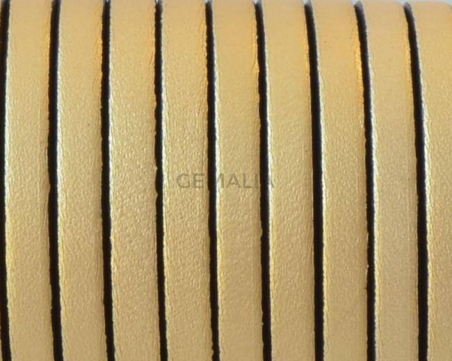 Cuero Plano 5x1,5mm. Oro metalizado 2 - cantos negros. Calidad Superior