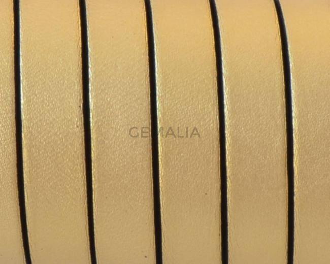 Cuero Plano 10x1,5mm. Oro metalizado 2 - cantos negros. Calidad Superior