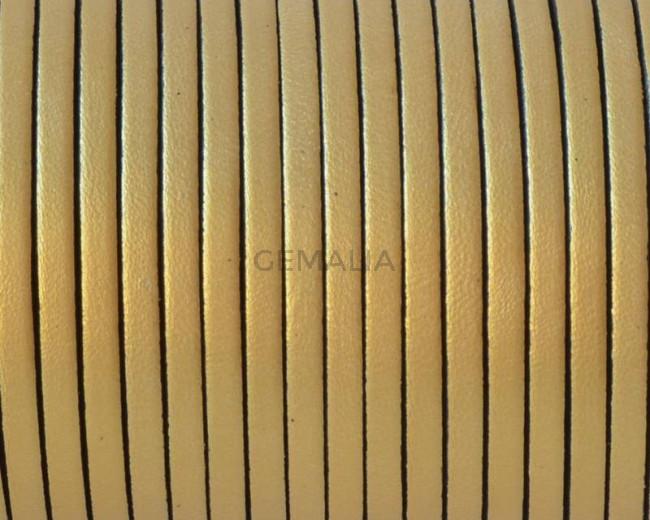Cuero Plano 3x1,5mm. Oro metalizado 2. Calidad superior