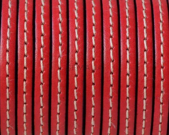 Cuero Plano cosido. 5x1,5mm. Rojo-cantos negros. Calidad superior
