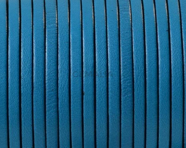 Cuero Plano 3x1,5mm. Azul turquesa-cantos negros. Calidad superior