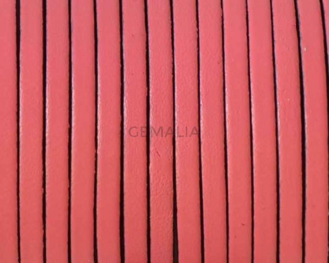 Cordon de cuero Plano 3x1,5mm. Rosa-cantos negros. Calidad superior.