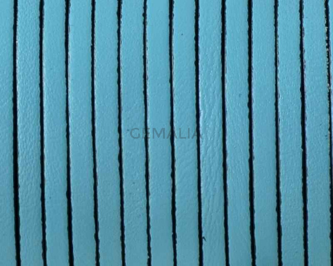 Cordon de cuero Plano 3x1,5mm. Azul celeste-cantos negros. Calidad superior.