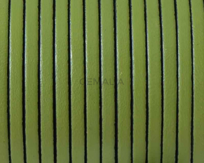 Cordon de cuero Plano 3x1,5mm. Verde pistacho-cantos negros. Calidad superior.