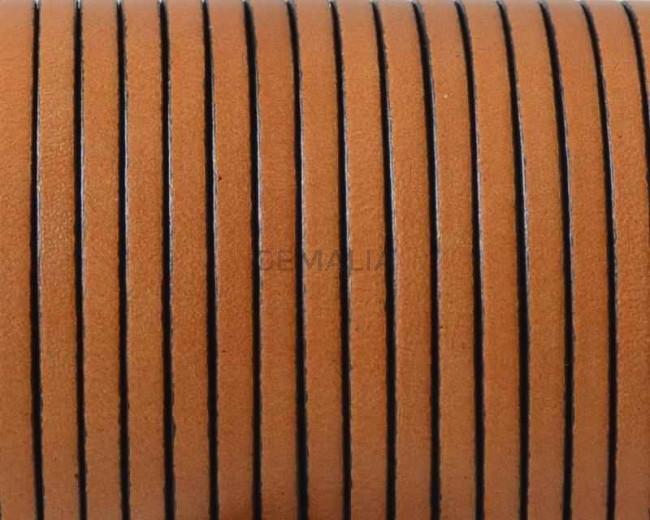 Cordon de cuero Plano 3x1,5mm. Marron claro-cantos negros. Calidad superior.