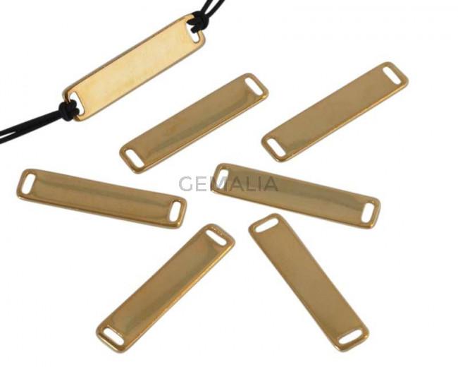 Conector latón. Rectangulo. 28x6,5x1mm. Dorado. Int.4,2x1,2mm.