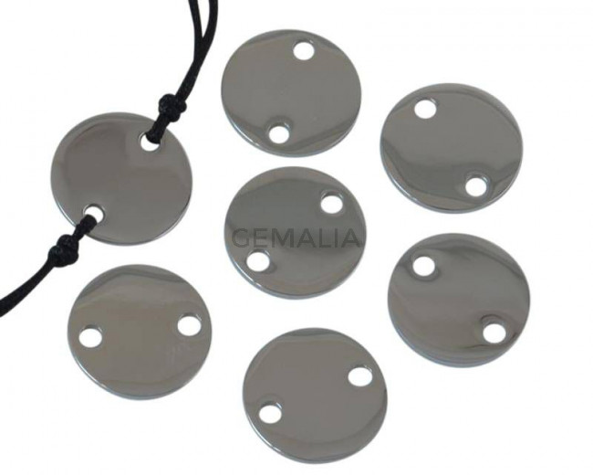 Acero inoxidable 304. Conector. Moneda. 13x13x1mm. Plateado. Int.2mm