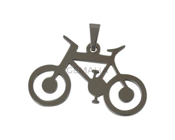 Colgante bicicleta de Acero inoxidable 304. 24x37mm. Plateado. Int.3x5mm