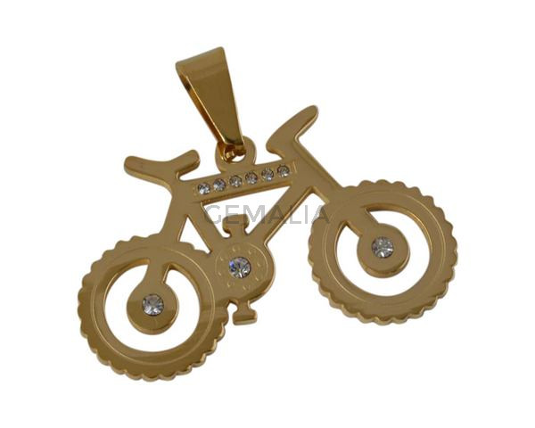 Colgante bicicleta de Acero inoxidable 304. 36,5x23x2mm. Dorado. Int.4x7mm