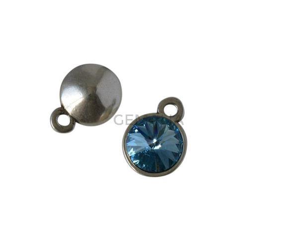 Colgante moneda Swarovski y Zamak 15mm. Plateado-Aquamarine. Int.2,5mm