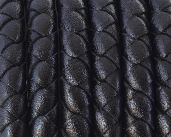 d588d7fc9bd8 Cordón de cuero trenzado redondo negro serpiente de 5mm - Calidad Superior