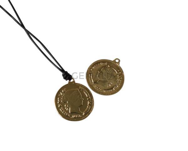 Laton. Colgante moneda 20x20mm. Dorado. Int.1,2mm
