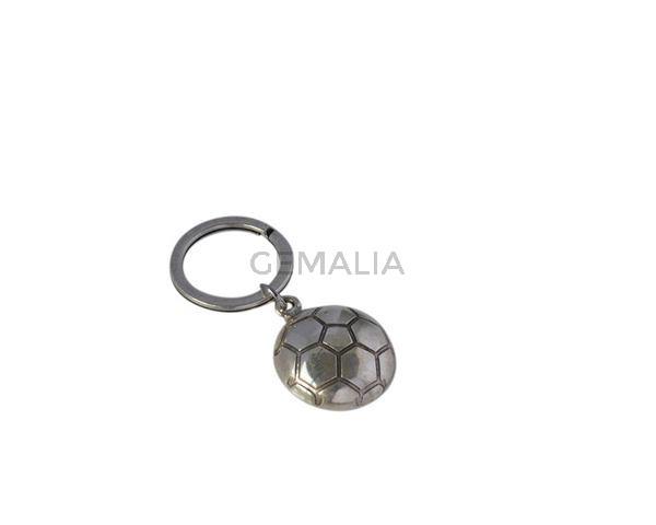 Llavero de Zamak futbol. Balon 26mm.Plateado.