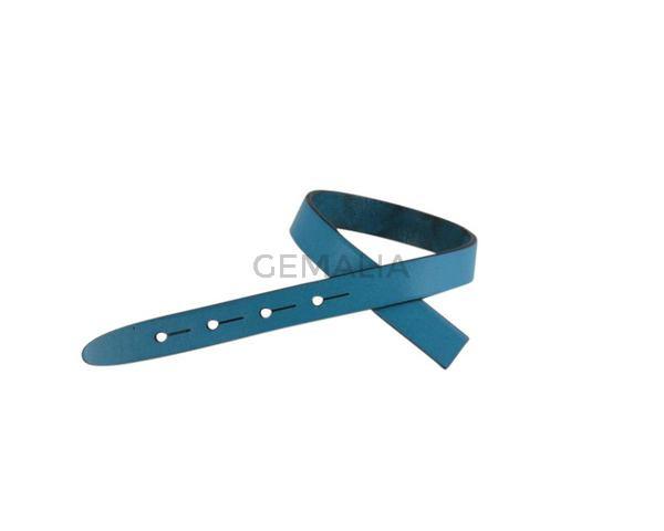 Tira de cuero para hebilla. 230x10mm. Azul turquesa-cantos negros. Calidad superior.