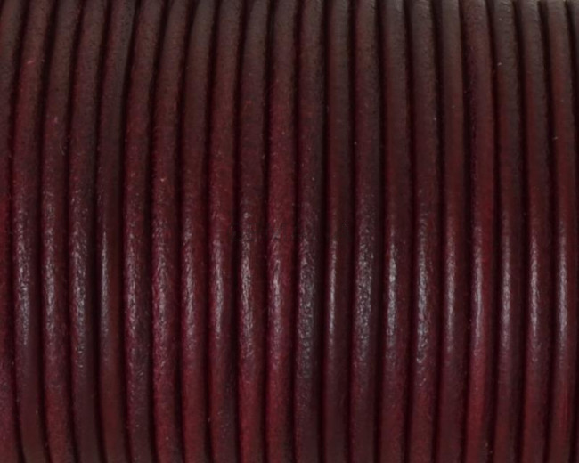 Cordon de cuero Redondo 2,5mm. Burdeos. Calidad superior.
