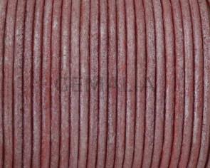 Cuero Redondo 2mm.  Rojo Metalizado. Calidad superior