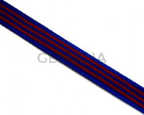 Lazo. Bandera. 10mm. Azul-grana. Calidad superior