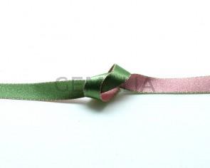 Lazo saten punteado.10mm.Verde claro-rosa claro.Reversible. Calidad Superior
