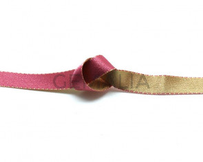 Lazo saten punteado. 10mm. Rosa-marron claro. Reversible. Calidad Superior