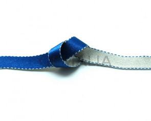 Lazo saten punteado. 10mm. Azul-gris claro. Reversible. Calidad Superior