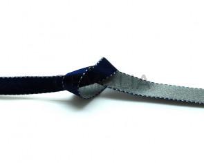 Lazo saten punteado. 10mm. Azul marino-gris. Reversible. Calidad Superior