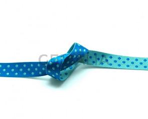 Lazo. Reversible-puntos. 10mm. Azul turquesa-verde mar. Calidad Superior