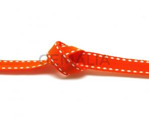 Lazo. Pespunte. 10mm. Naranja-blanco. Calidad superior